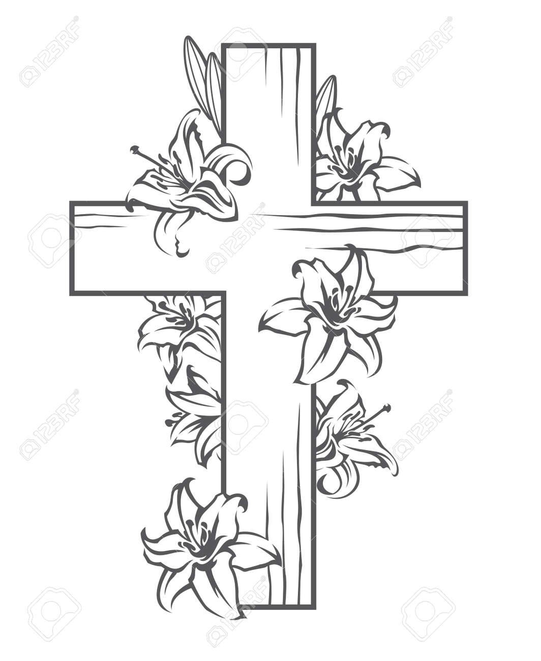 Christian cross stock photos royalty free business images floral image with cross and blooming white lilies christian symbol biocorpaavc Image collections