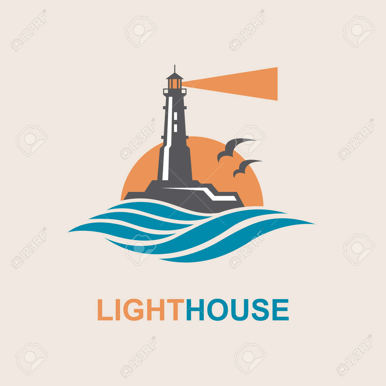 lighthouse icon design with ocean waves and seagulls - 70367749