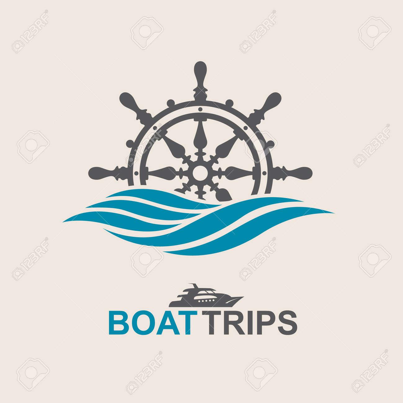 yacht helm wheel image with sea waves - 70438232
