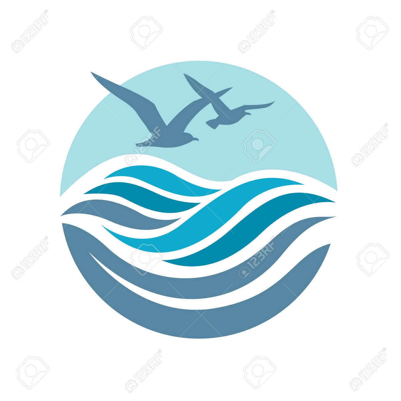 abstract design of ocean logo with waves and seagulls royalty free rh 123rf com ocean logo inspiration ocean logo inspiration