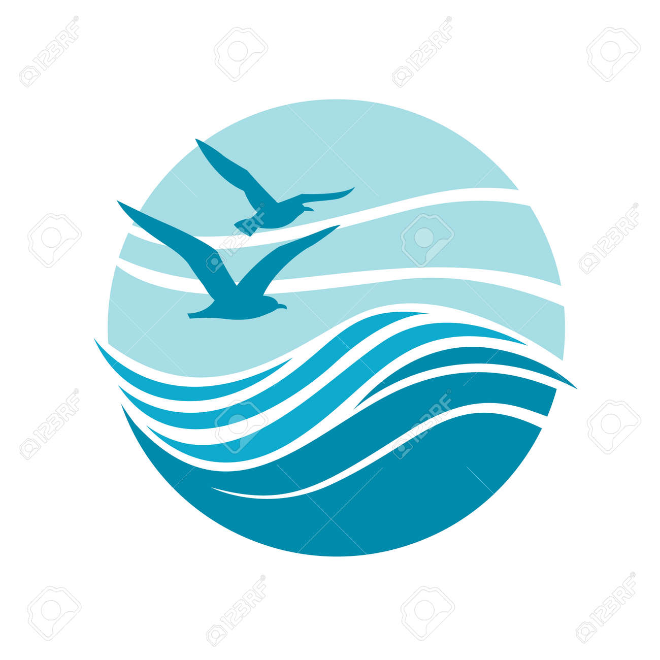 abstract design of ocean logo with waves and seagulls royalty free rh 123rf com
