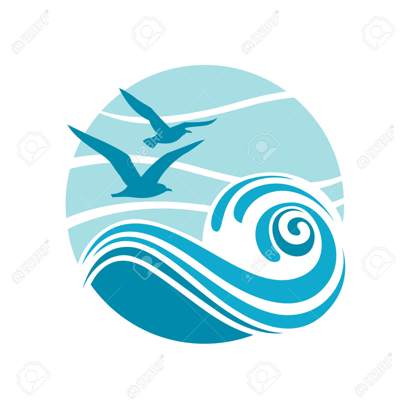 abstract design of ocean logo with waves and seagulls royalty free rh 123rf com ocean logo intro ocean logo vector