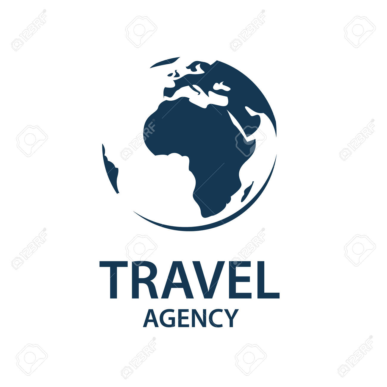 Earth Planet Globe Logo For Travel Agency Stock Vector