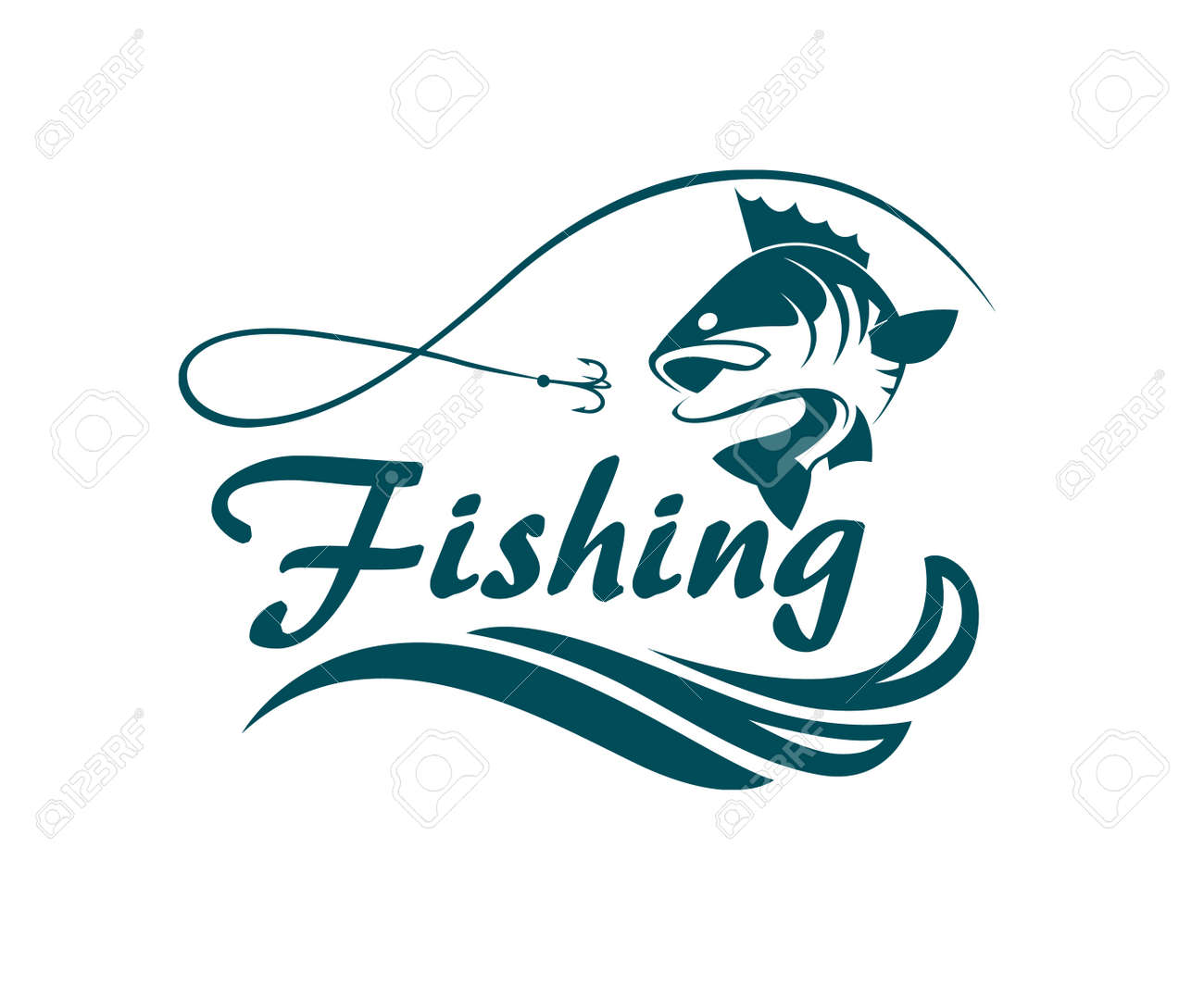 Fishing emblem with bass, waves and hook - 83681714