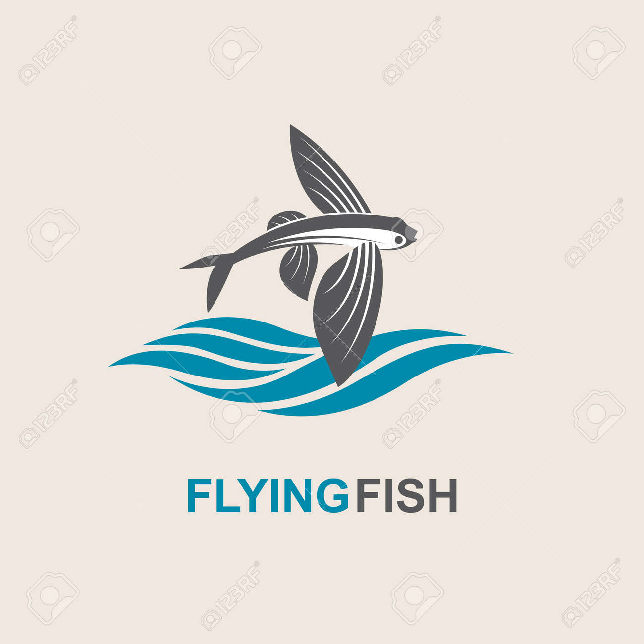 Icon Of Flying Fish With Waves Royalty Free Cliparts Vectors And