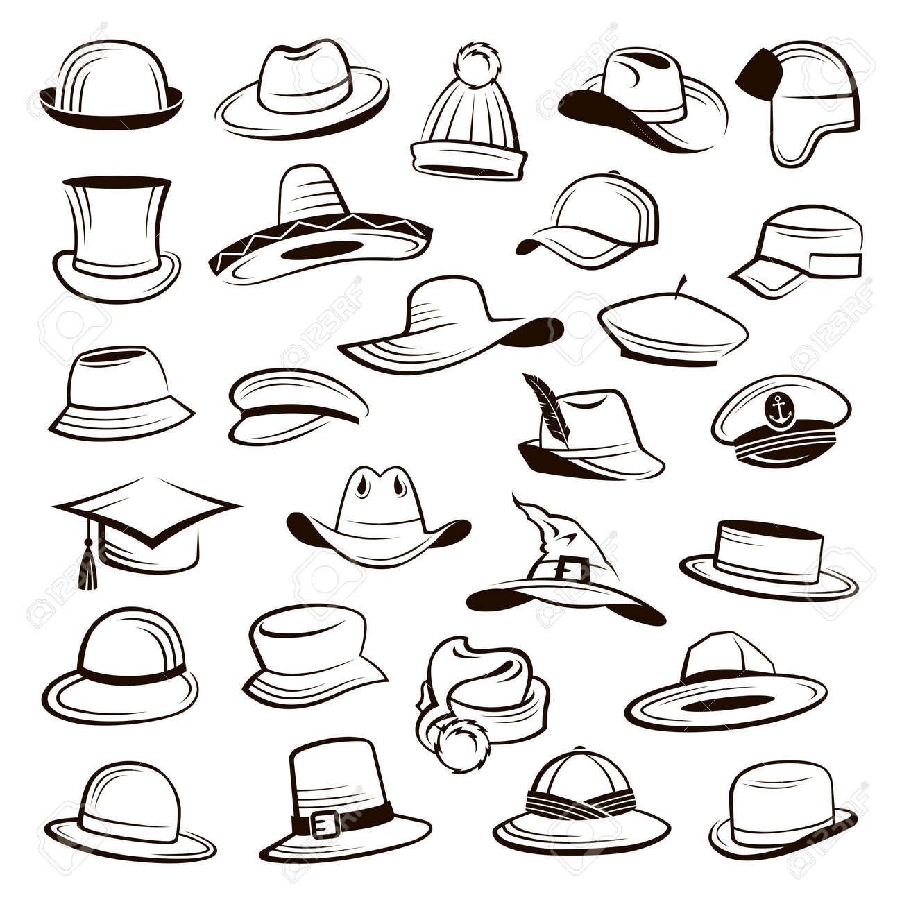 ce72fd216 Collection of different types of hats and caps.