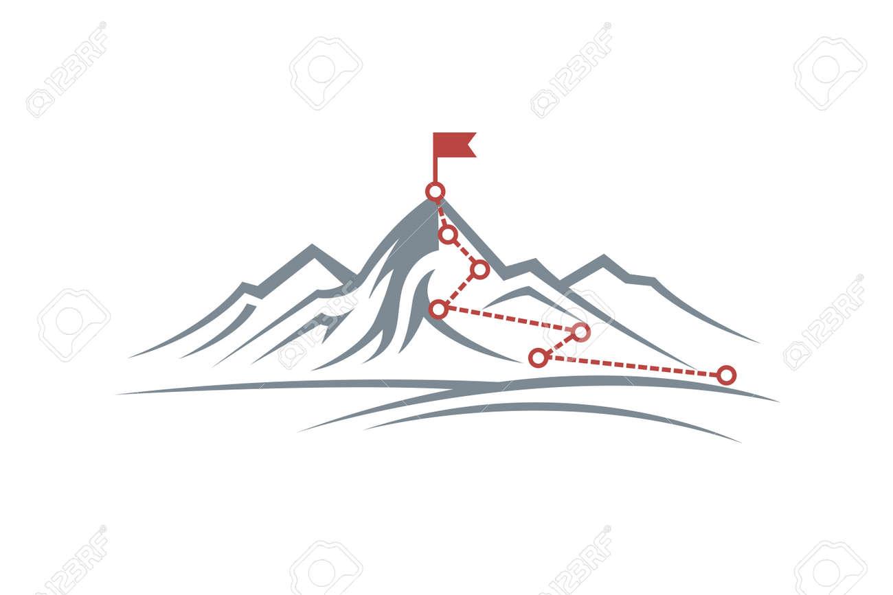 mountain climbing route to peak - 120534592
