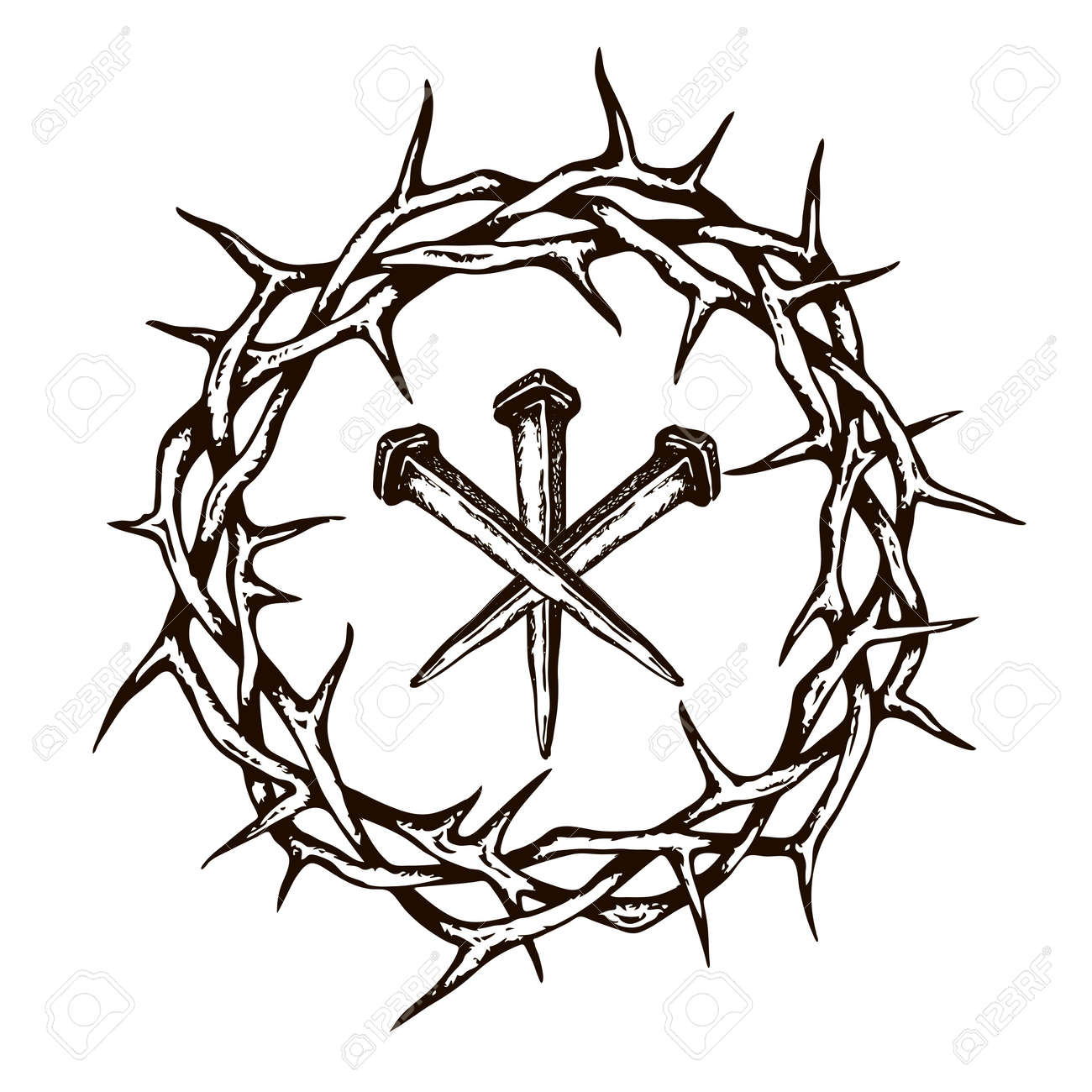 image of jesus nails with thorn crown isolated on white background - 138770998