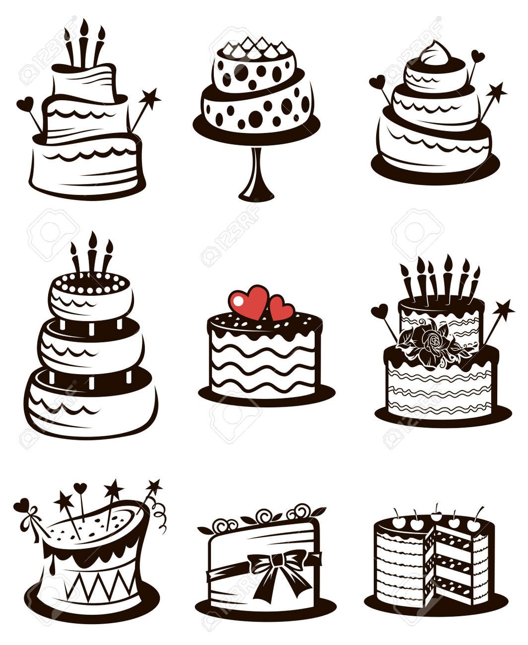 monochrome collection of various cakes isolated on white background - 159176745
