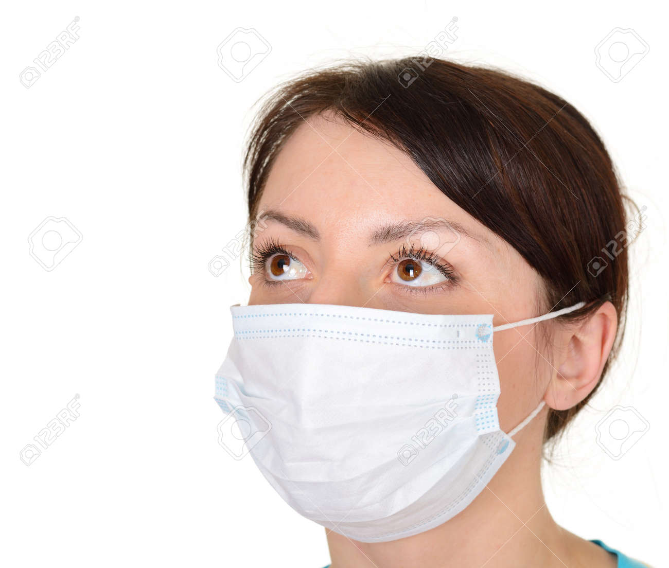 Isolated Woman Beautiful On Wearing Mask White Surgical Background
