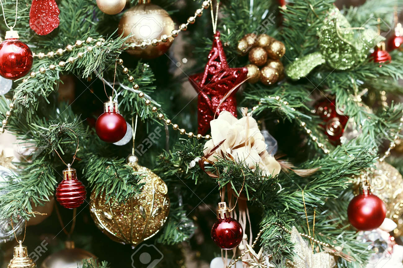 Multicolored Christmas Ornaments Made By Dressing The Christmas Tree For The New Year Stock Photo