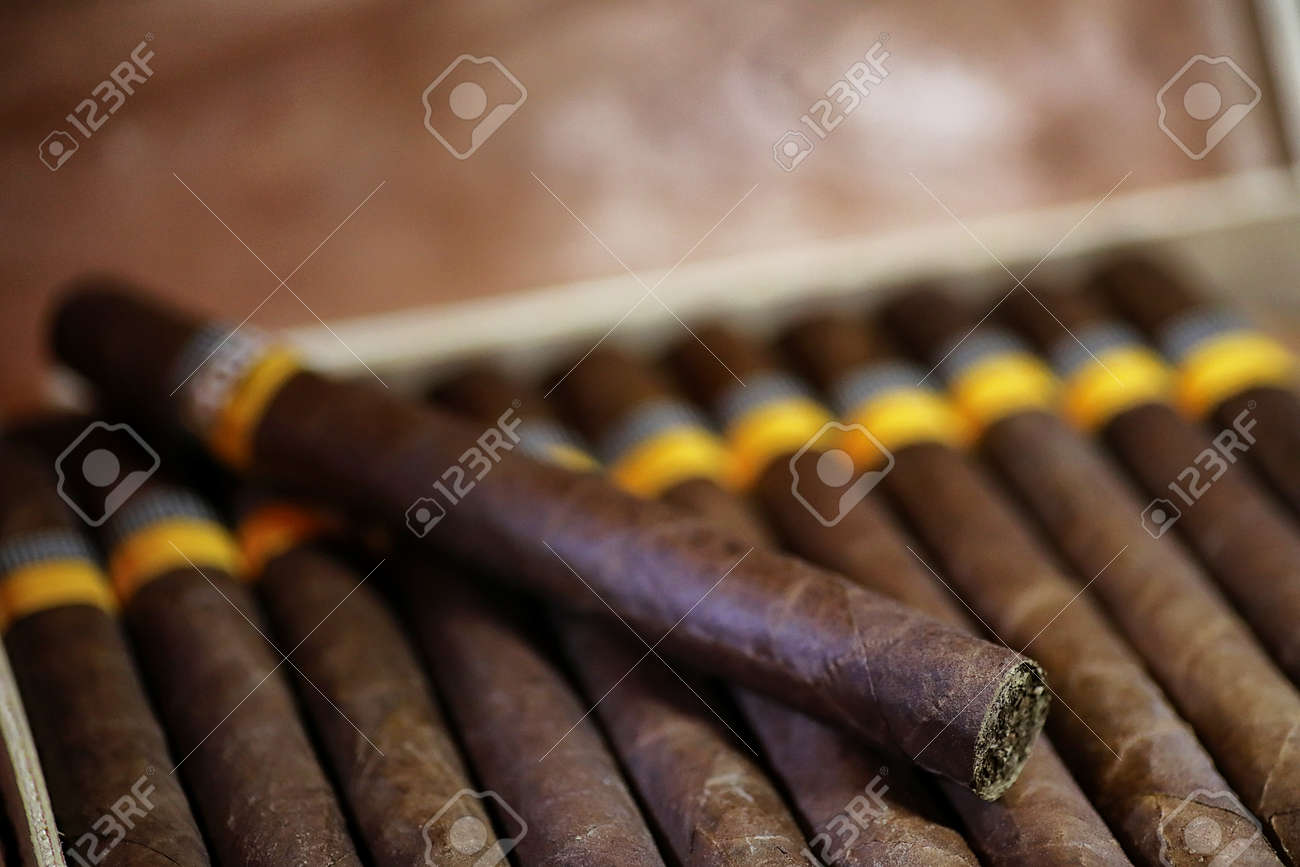Large wooden box of cigars handmade Cuban production