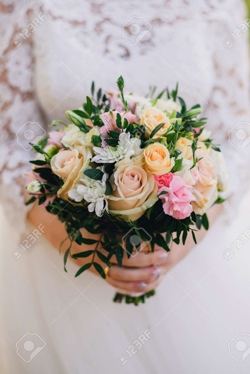 Beautiful Wedding Bouquet With Yellow Roses White Chrysanthemums