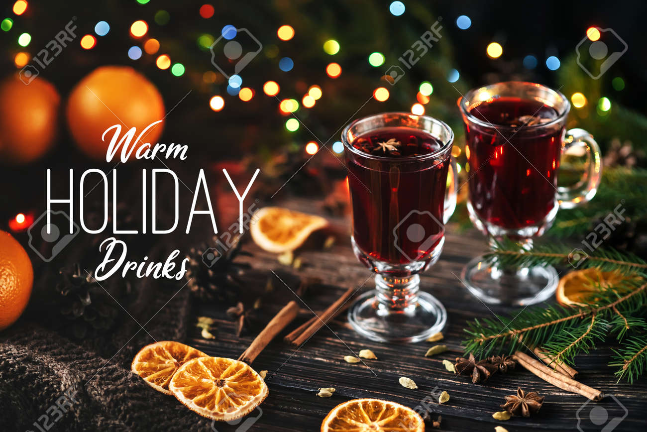 Greeting Card With A Warm Holiday Drink Of Mulled Wine Stock Photo