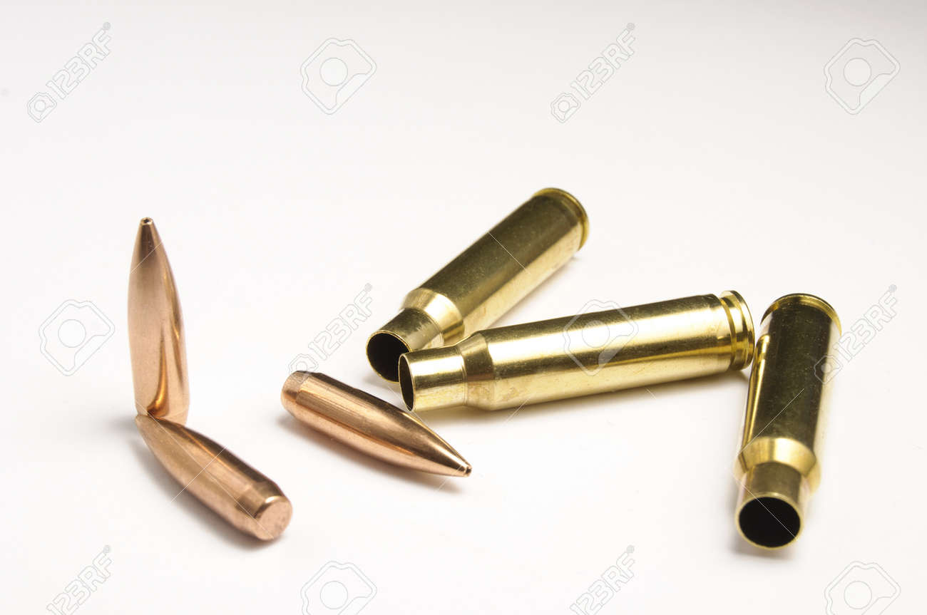 Rifle bullets separated Stock Photo - 19935805