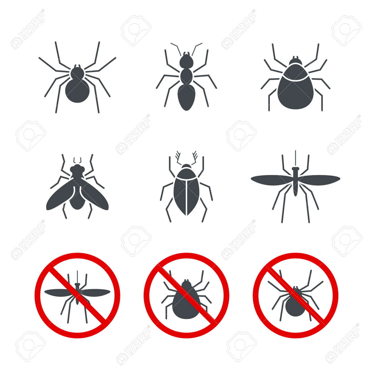 insect simple vector icon set bug ant tick spider fly and