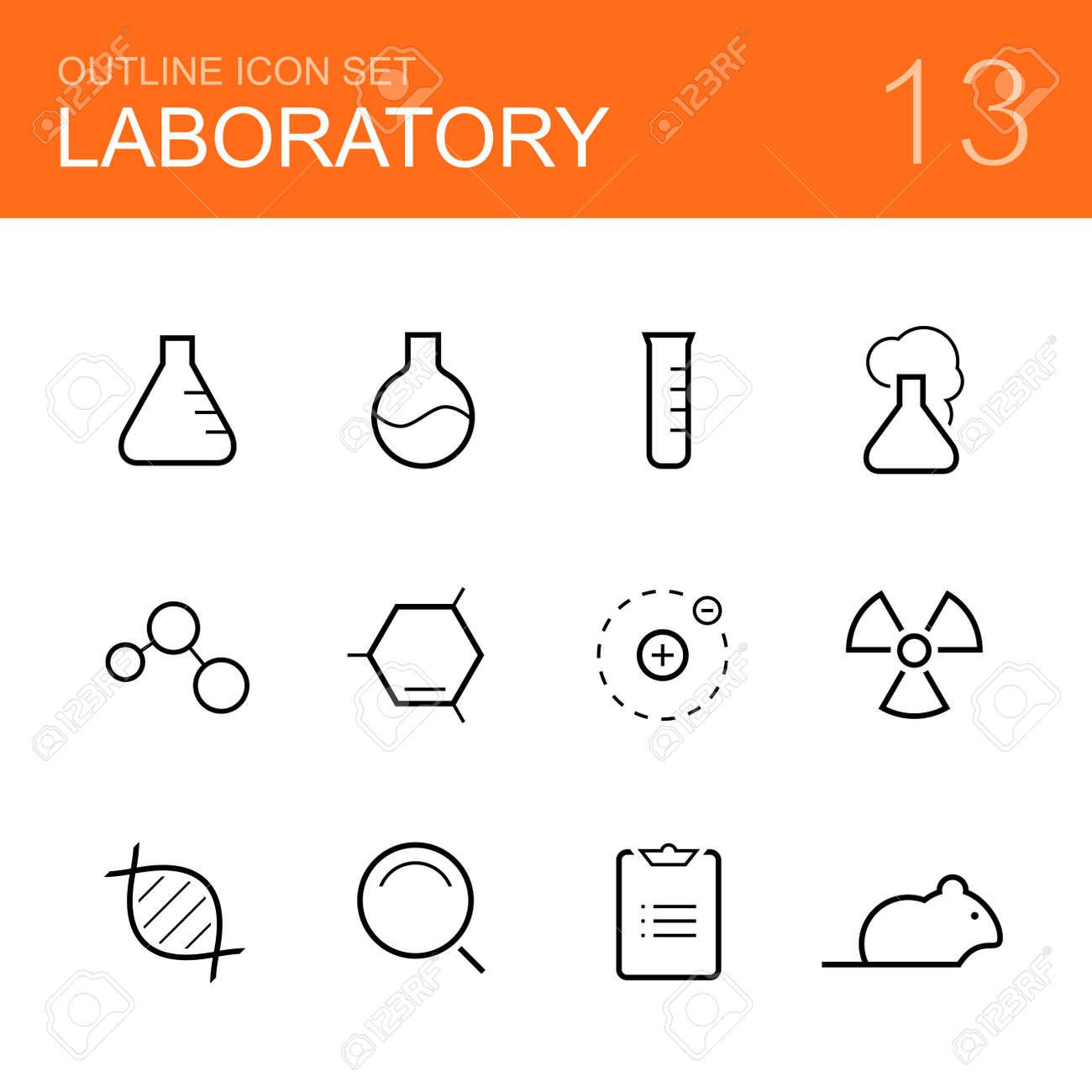 Química De Laboratorio Del Icono Del Vector Esquema Fijado - Botella ...