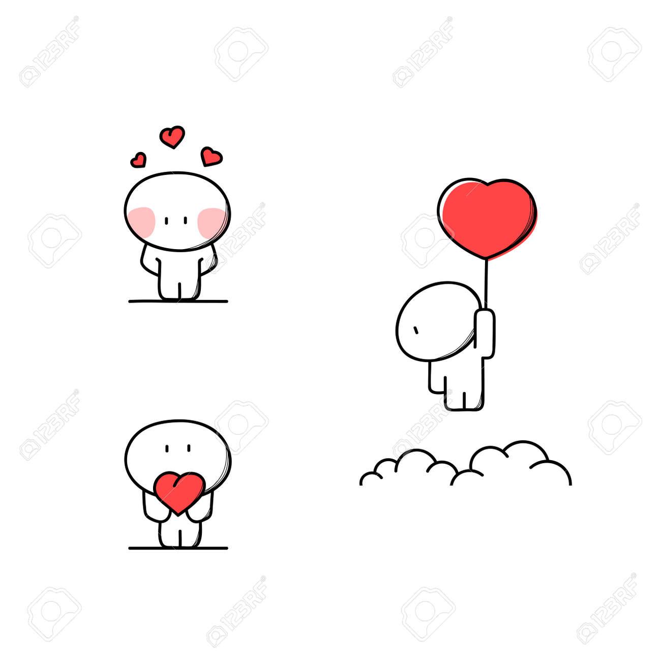 かわいい人間愛心 バレンタイン漫画のベクトル図にのイラスト素材