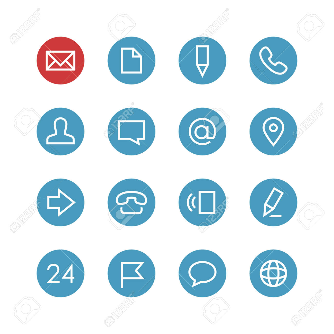 Contacts vector icon set - different symbols on the round blue background. - 53356762