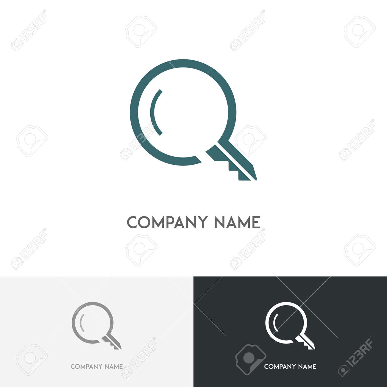 Real Estate Logo Search Magnifier And Key Symbol On The White