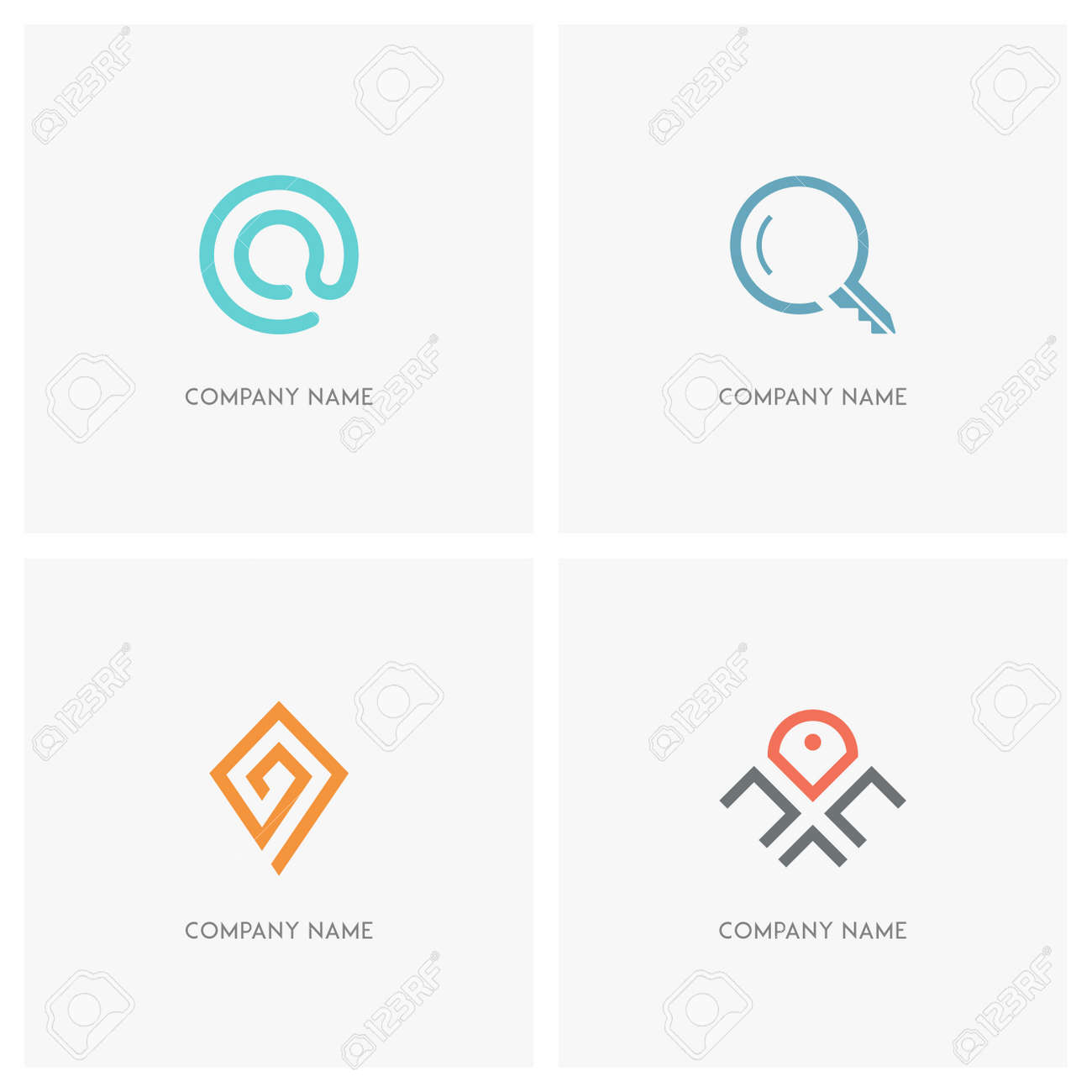 Address, email and search vector logo  Mail at sign, loupe, key