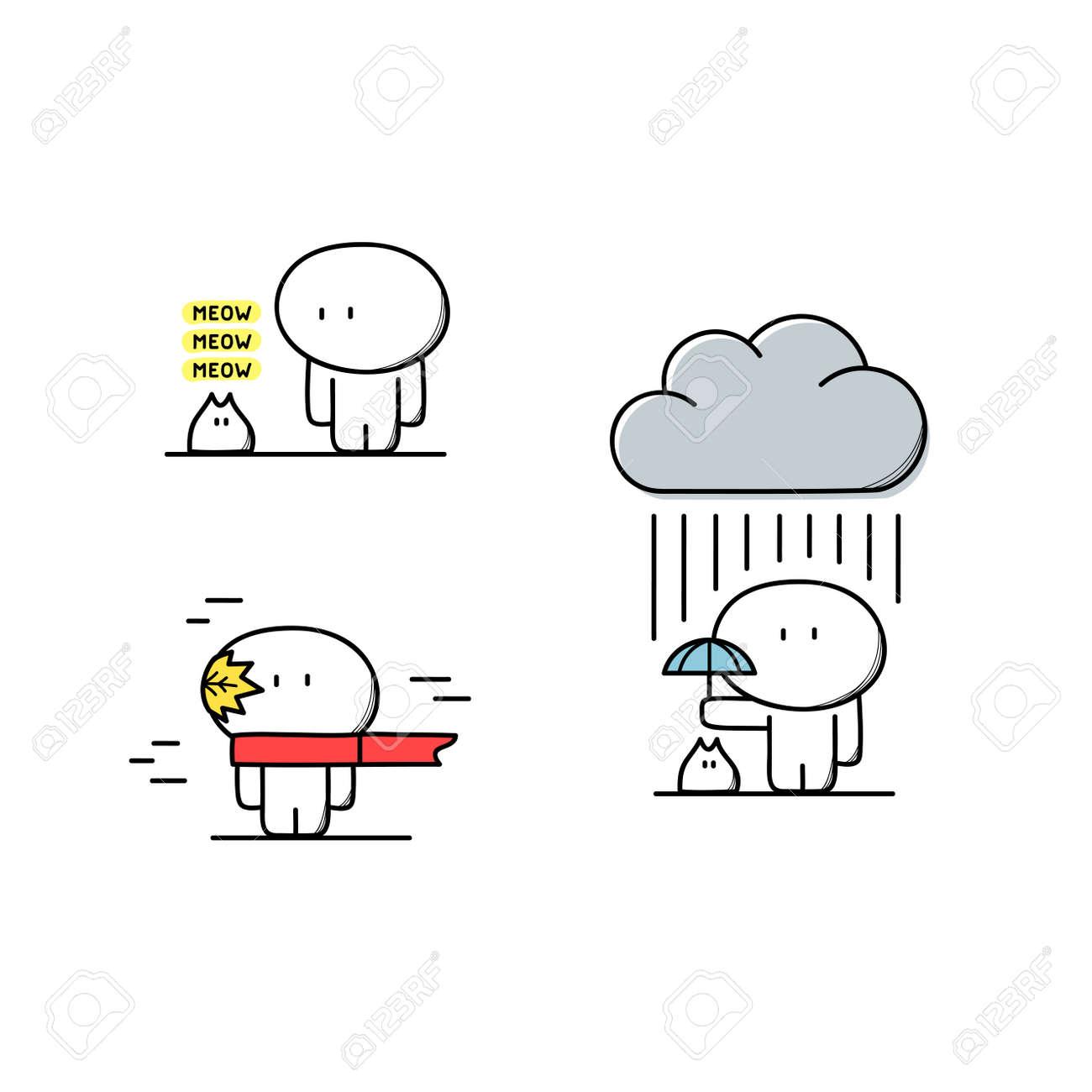 Netter Mann, Kümmert Sich Um Haustier Oder Kätzchen Mit Regenschirm ...
