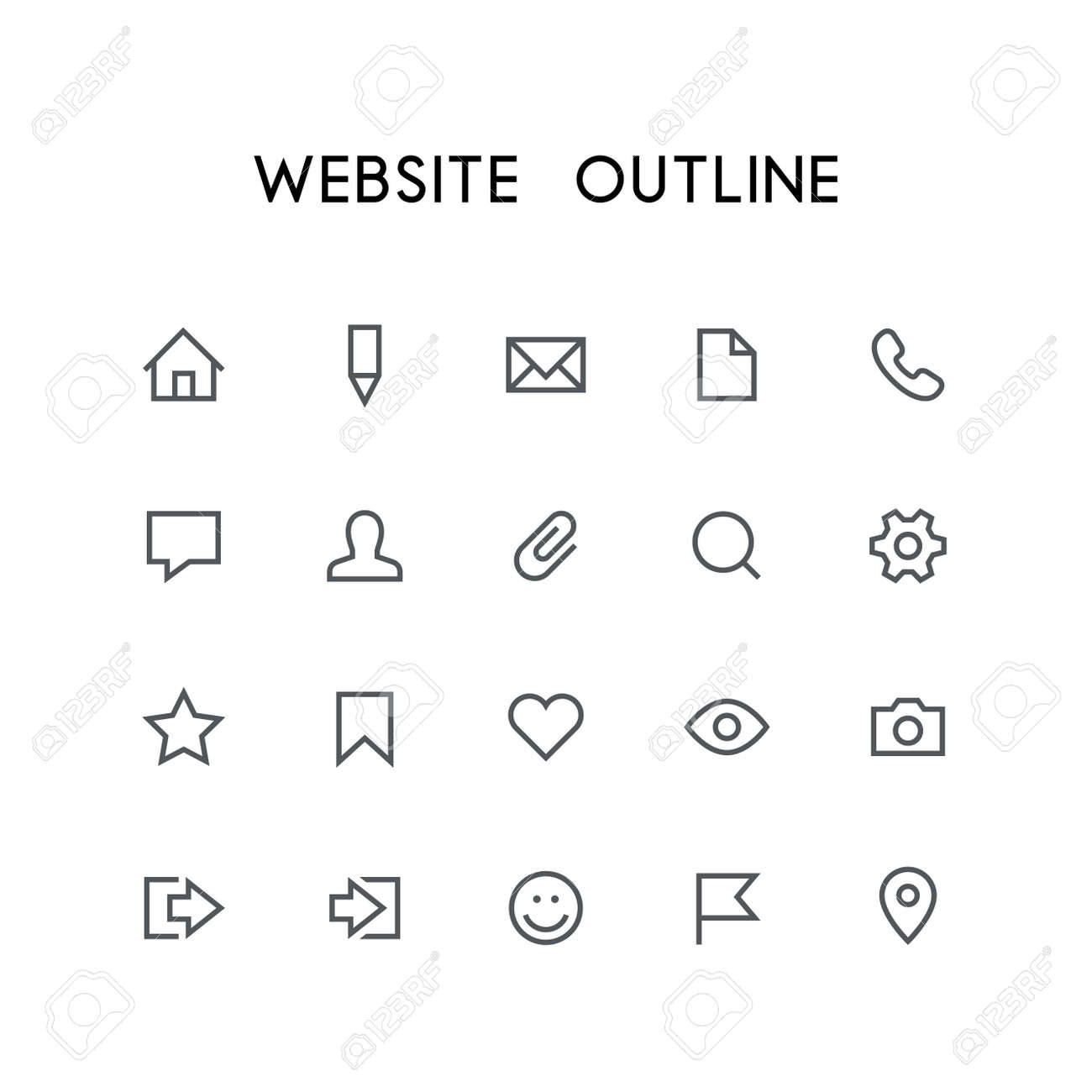 Website outline icon set home pencil document phone chat website outline icon set home pencil document phone chat mail sciox Gallery