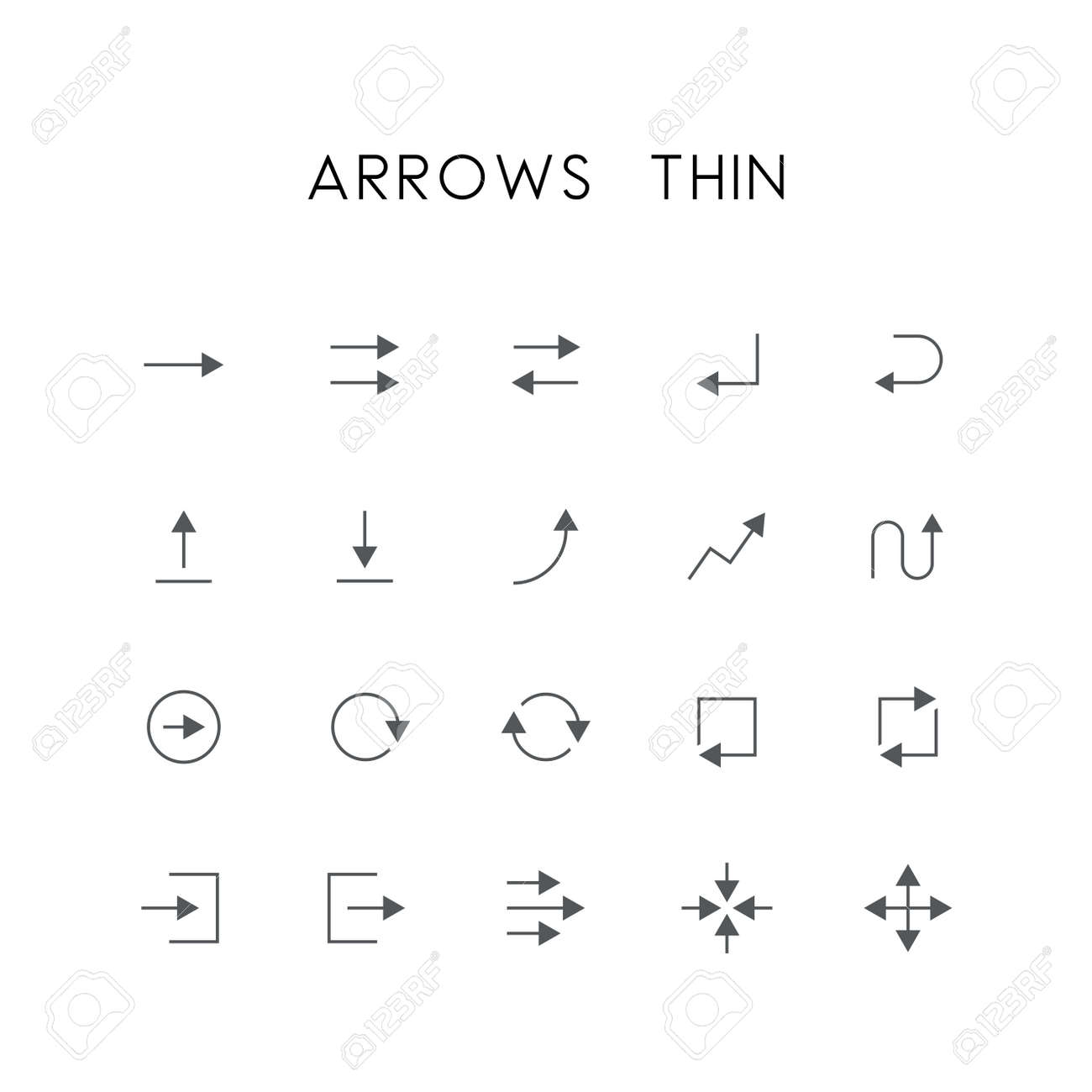 Arrows thin icon set - different elements, enter, back, upload,