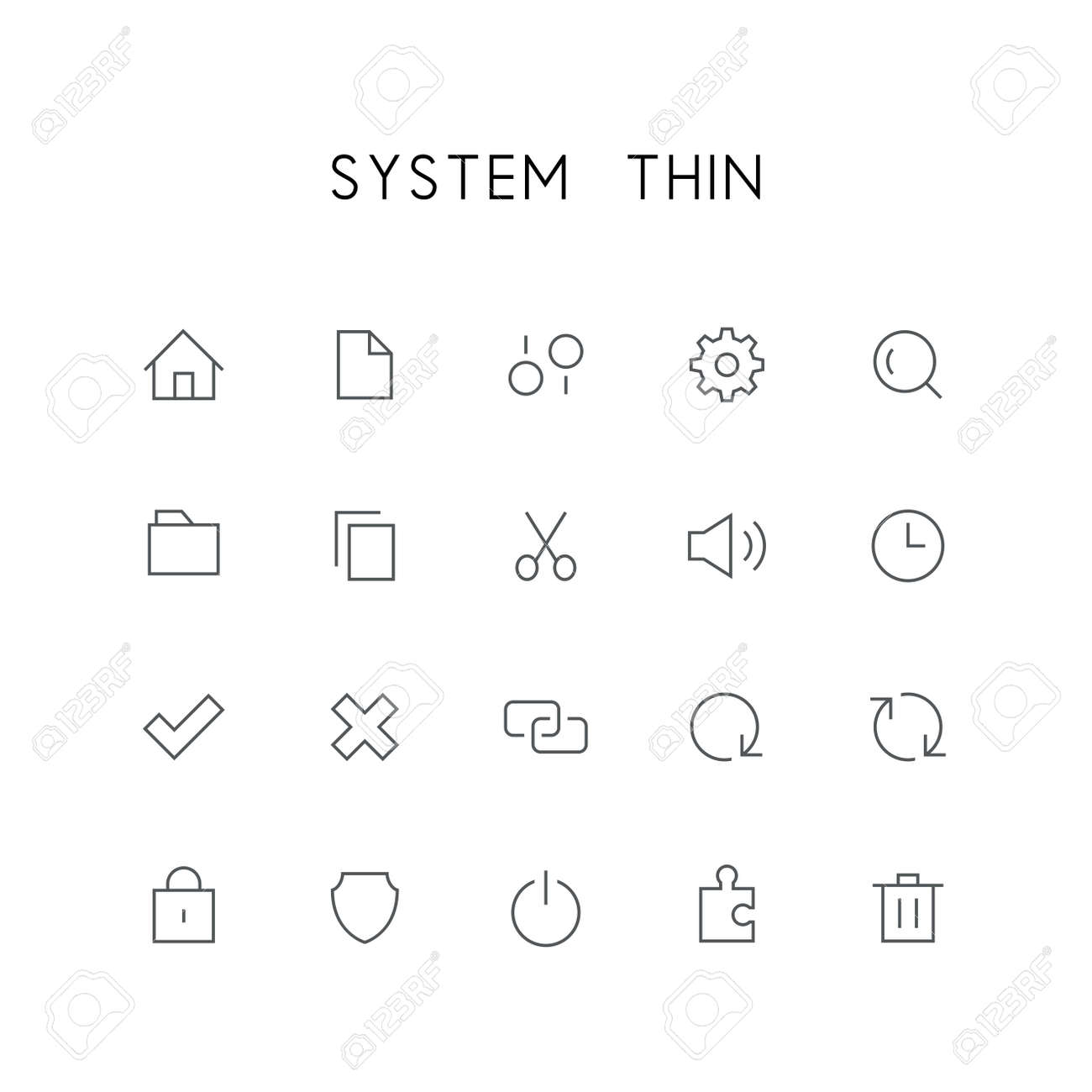 System Thin Icon Set Home File Settings Gear Search Folder