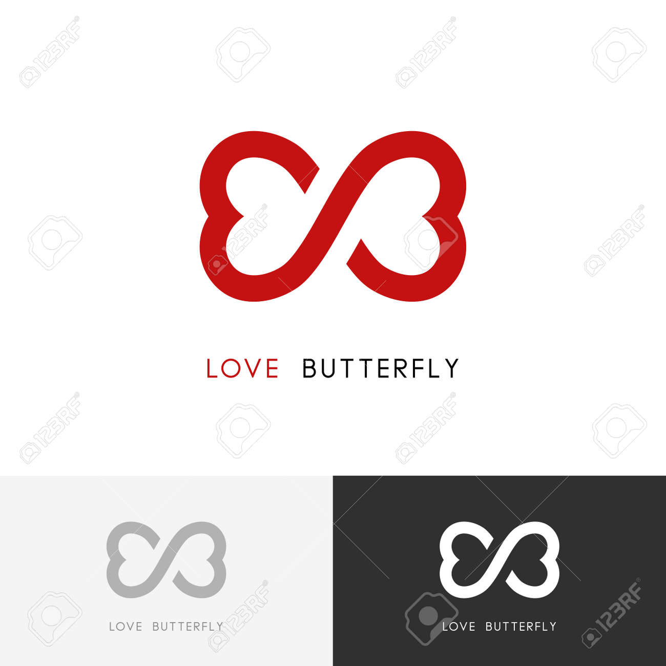 Love butterfly logo two red hearts or wings of the moth symbol love butterfly logo two red hearts or wings of the moth symbol valentine biocorpaavc Gallery