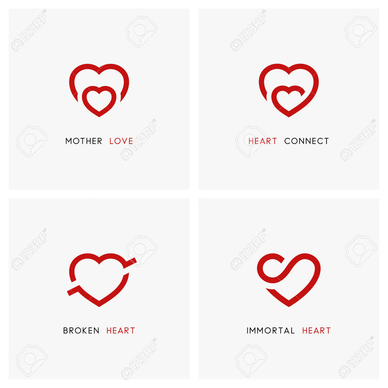Love vector logo set red hearts mother and child baby care red hearts mother and child baby care symbols biocorpaavc Images