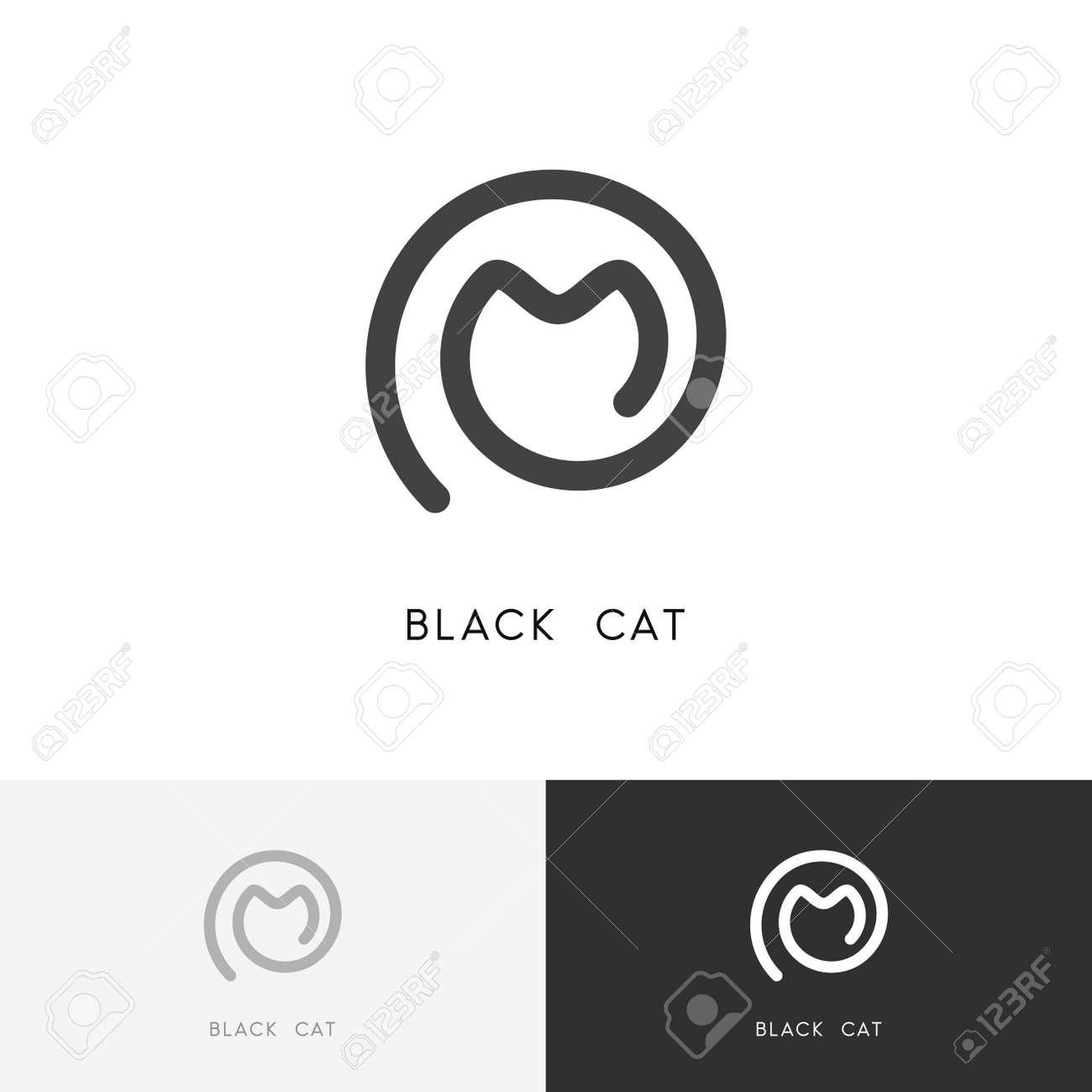 Black Cat Logo Outline Kitty Or Kitten Symbol Vet And Pet Vector