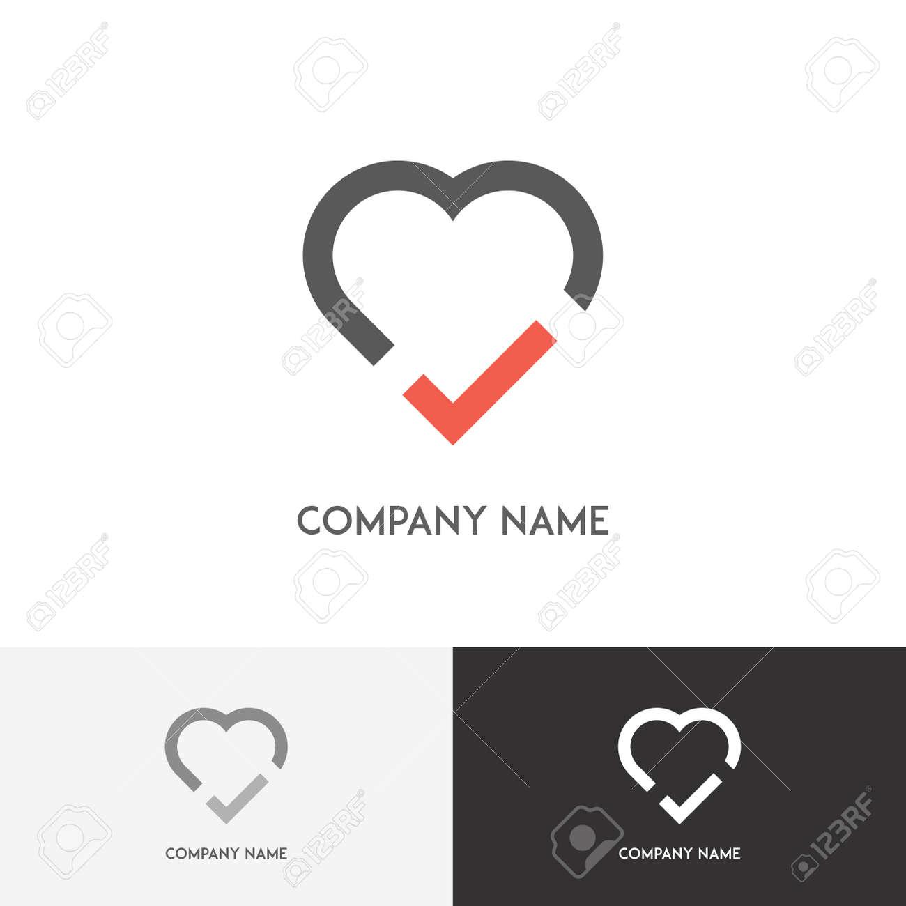 Logotipo De Amor - Corazón Con Tic En El Fondo Blanco Ilustraciones ...