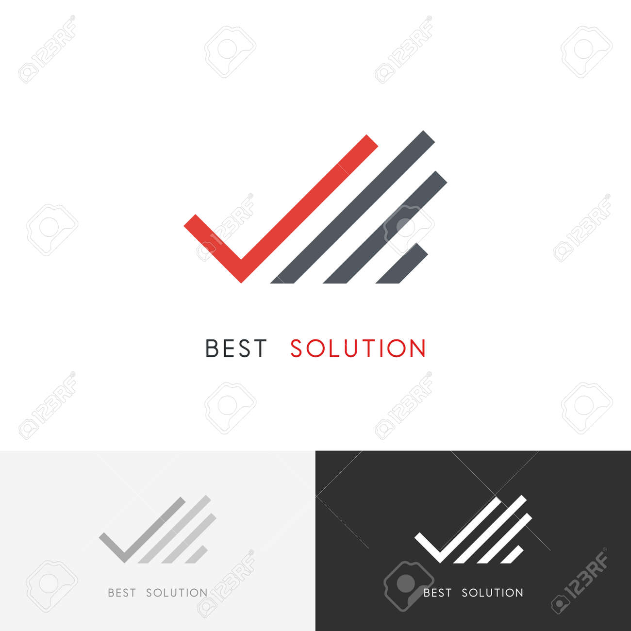Best Solution Logo Hand With Check Mark Or Tick Symbol