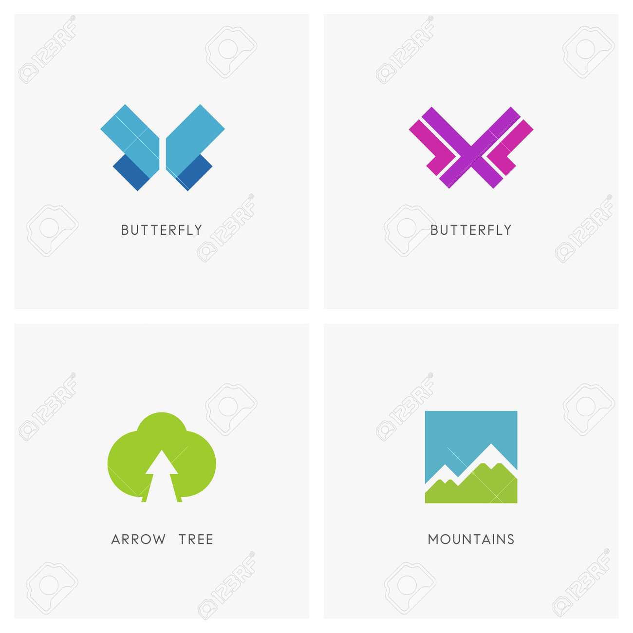 Nature set butterfly symbol high mountains and green tree with butterfly symbol high mountains and green tree with arrow plant biocorpaavc Image collections