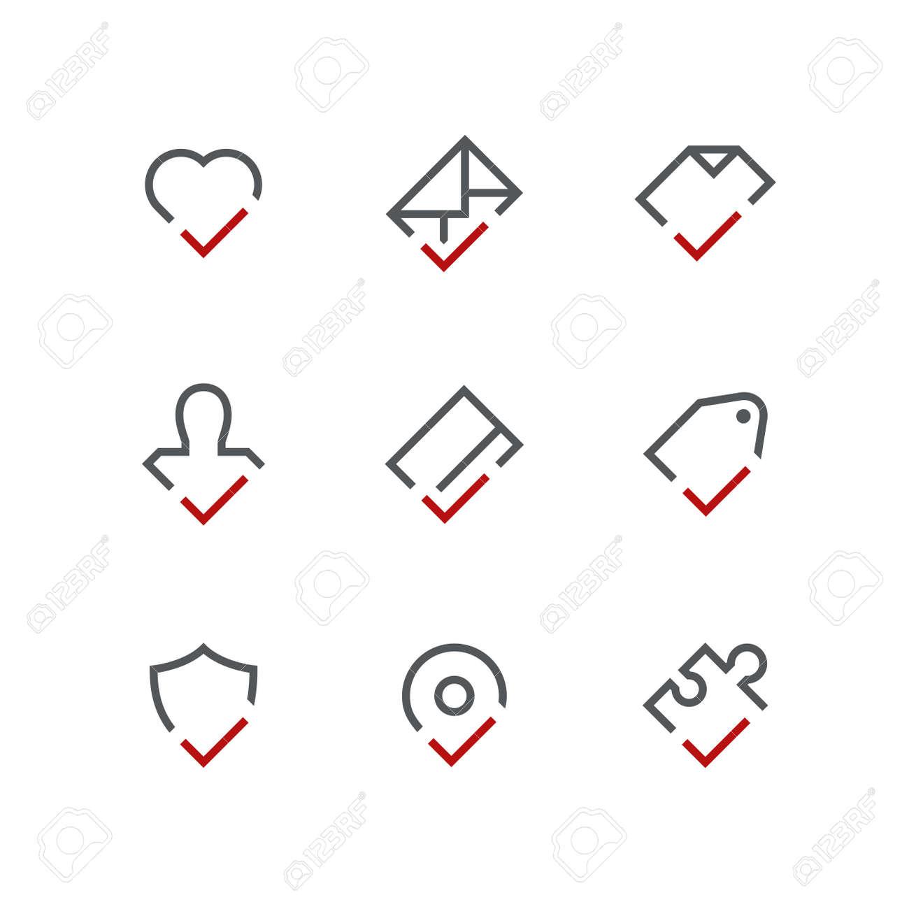 Checkmark Outline Icon Set - Heart, Envelope, Document, Person ...
