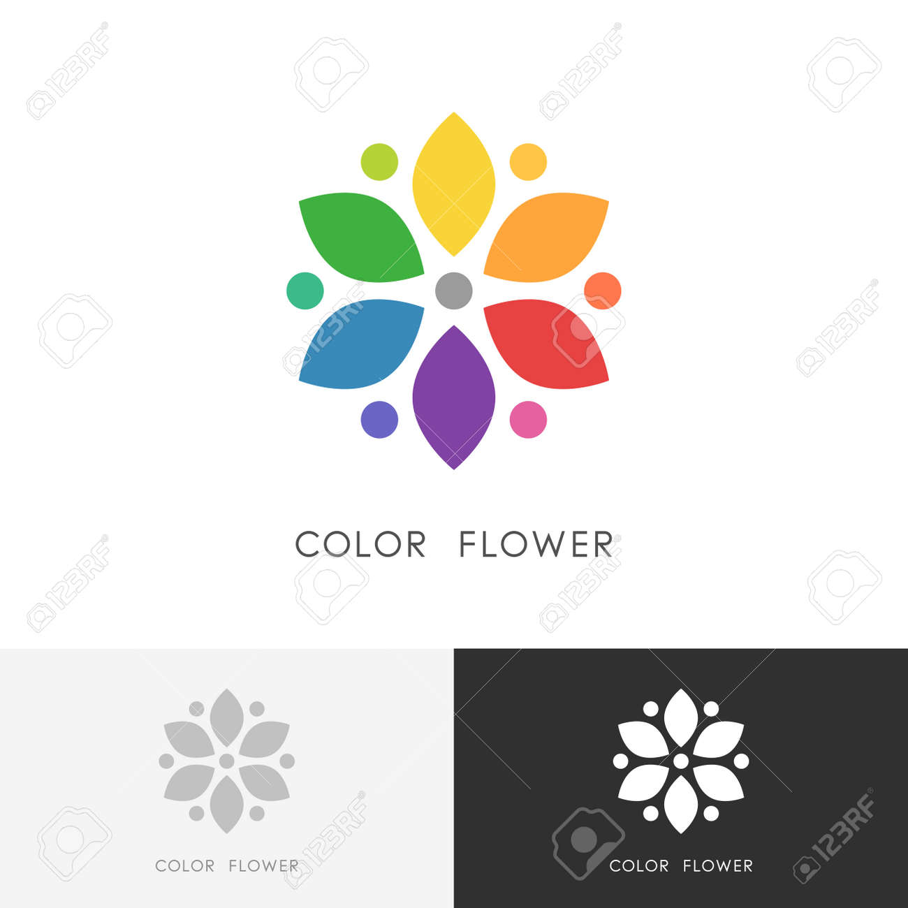 Color Flower Bright Colored Blossom With Petals Or Color Wheel