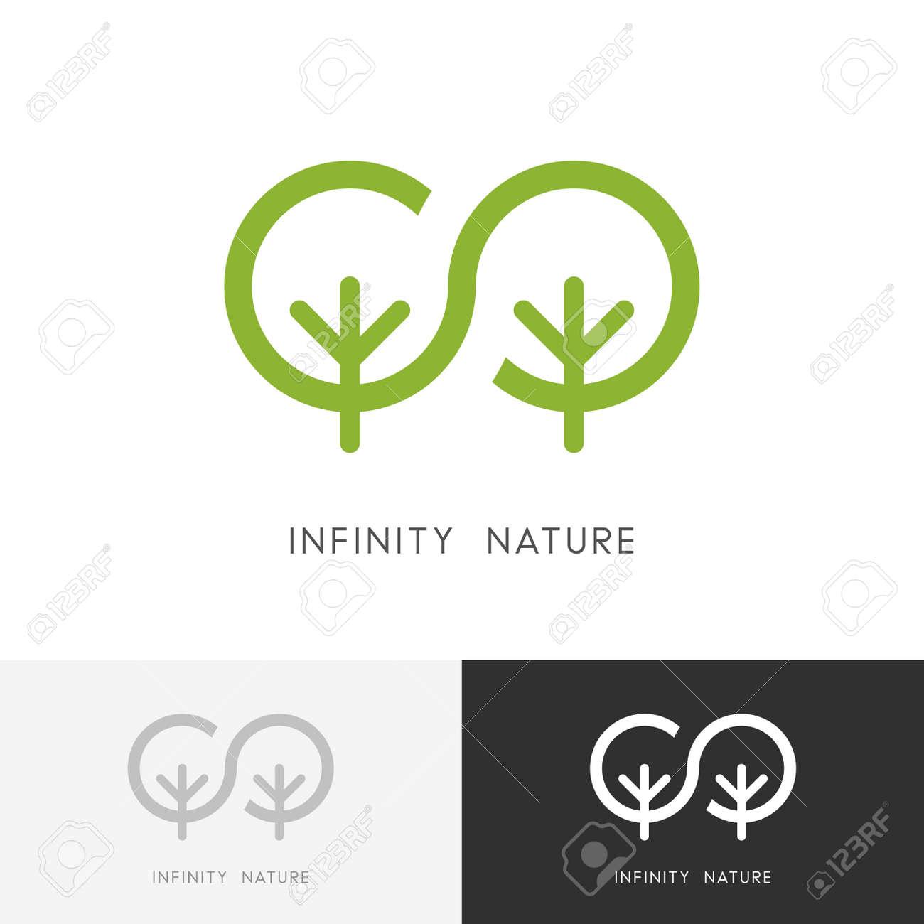 Nature à Linfini Deux Arbres Verts Et Symbole De Léternité De La