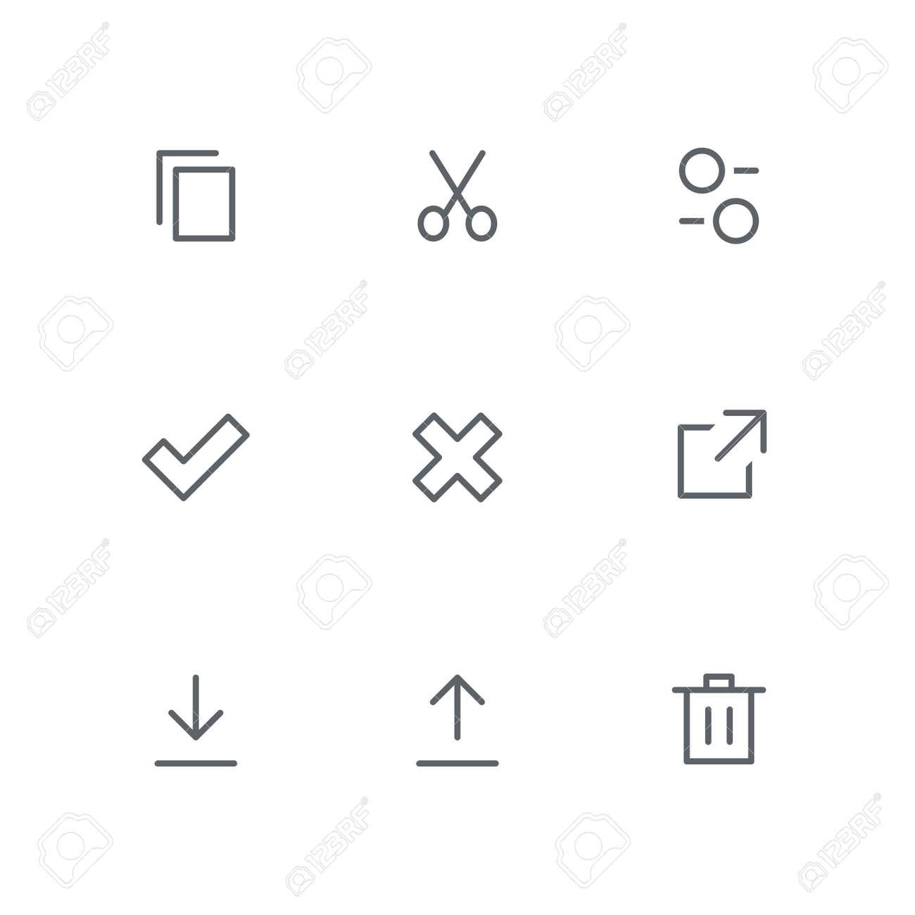 Basic outline icon set - files, scissors, settings, check mark,