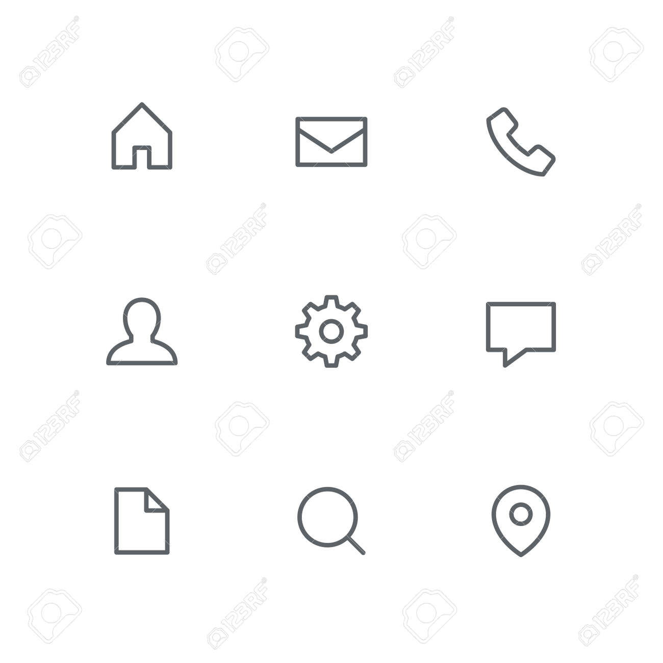 Basic outline icon set - home, mail, telephone, person, gear