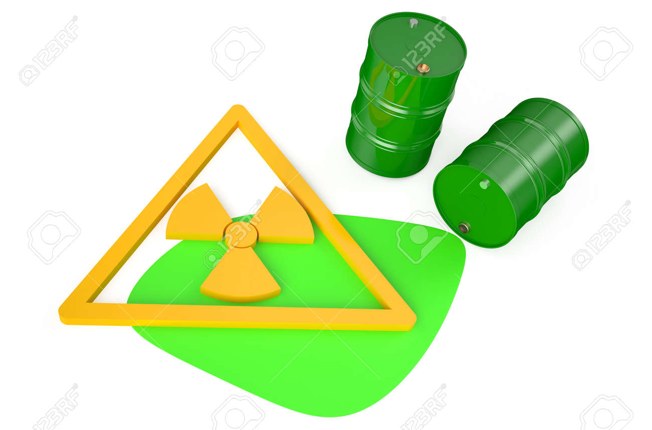 Green Barrels With Radioactive Waste Isolated On White Background