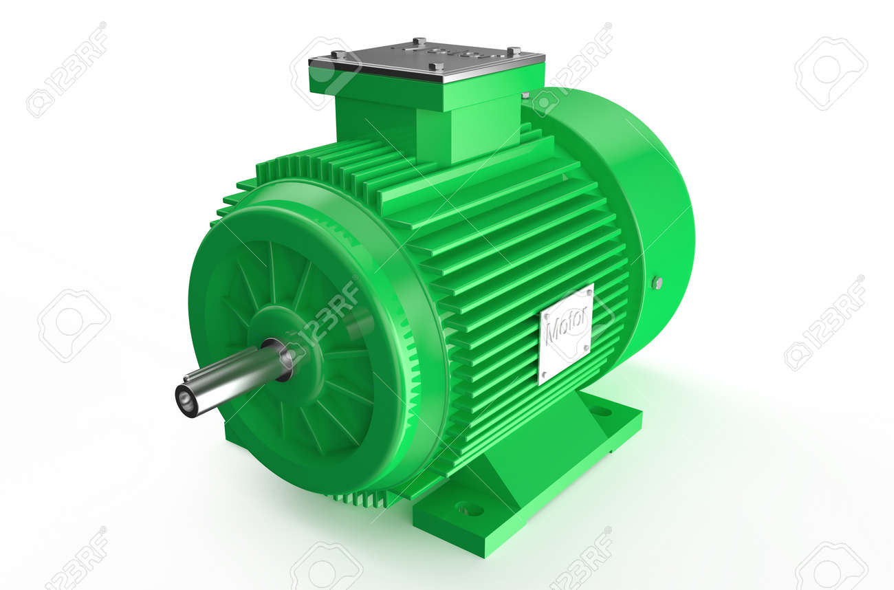 Industrial green electric motor isolated on white background - 36598061