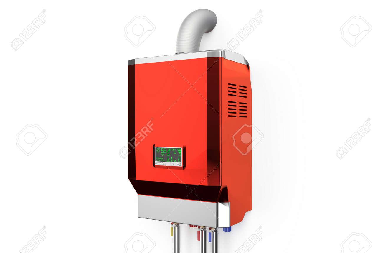 Red Hause Gas-Kessel, Wasserkocher Isoliert Auf Weißem Hintergrund ...