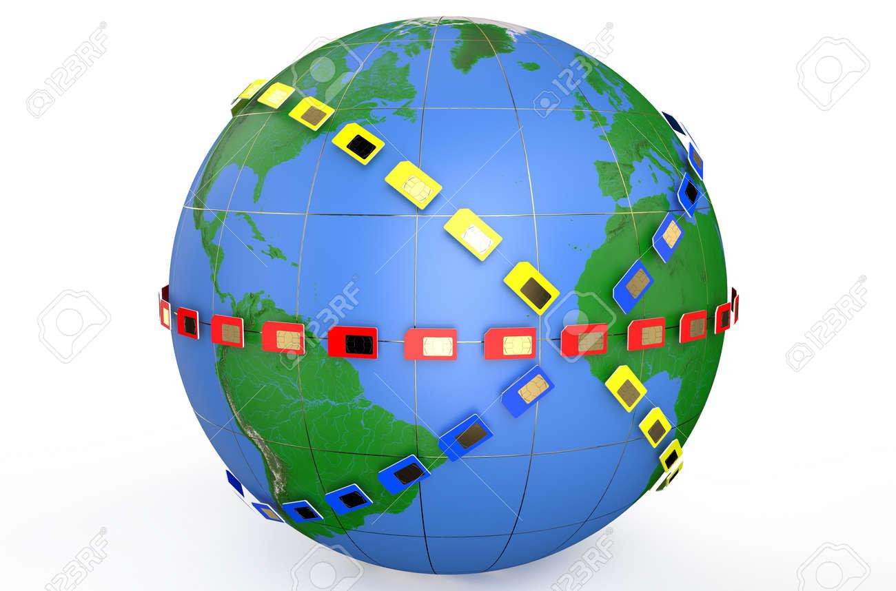 SIM card around Earth globe isolated on white background