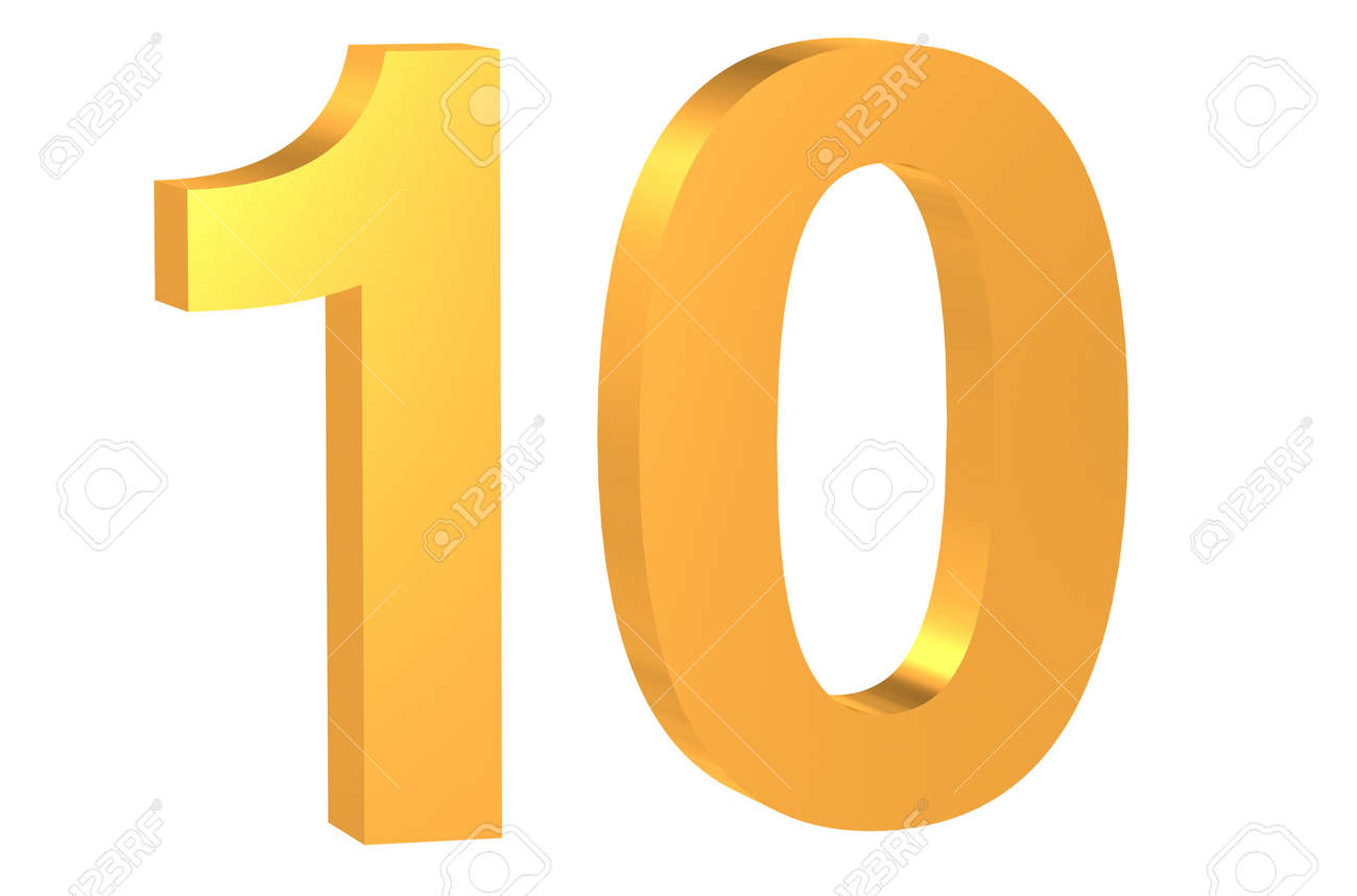 3d golden number 10 isolated on white background stock photo