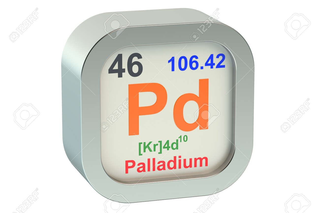 Palladium Element Symbol Isolated On White Background Stock Photo