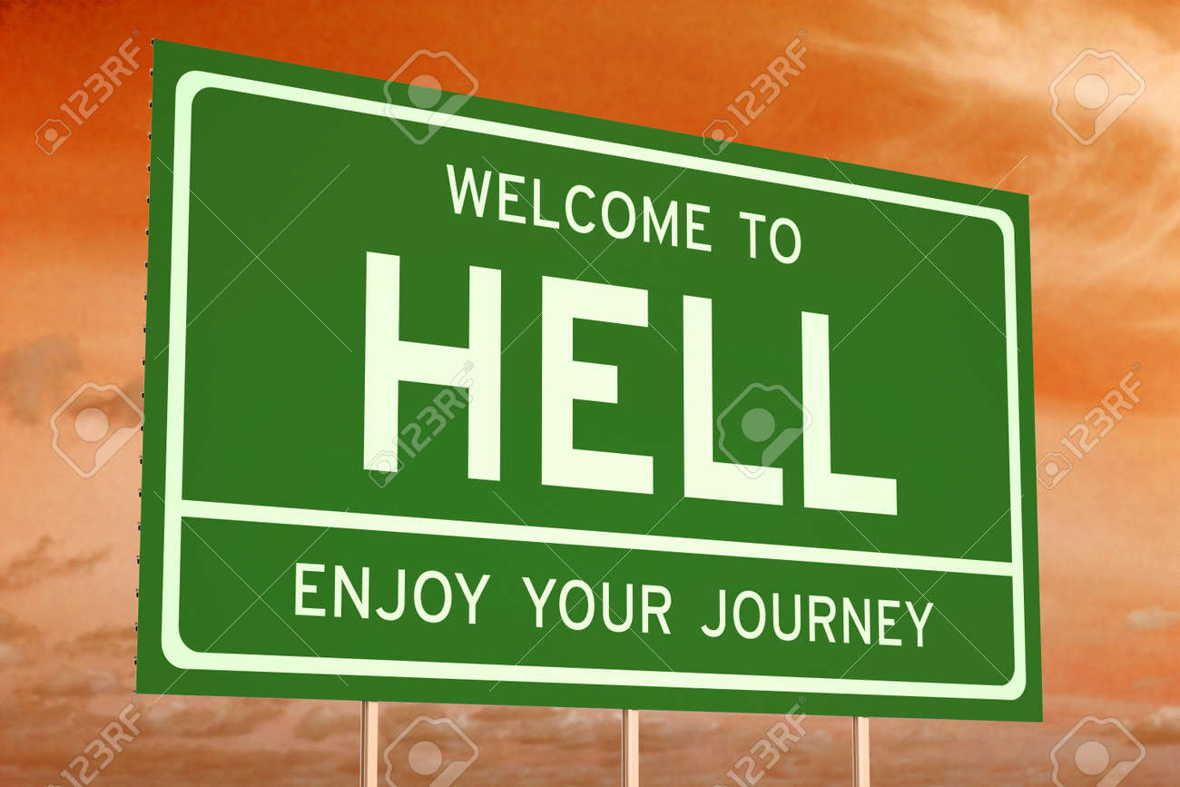 48317342-Welcome-to-Hell-concept-on-road