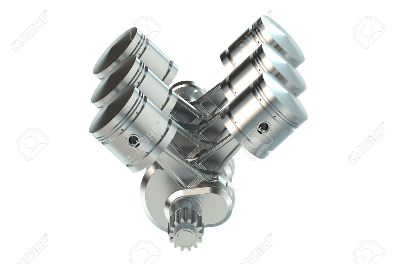 v6 engine pistons isolated on white background stock photo picture