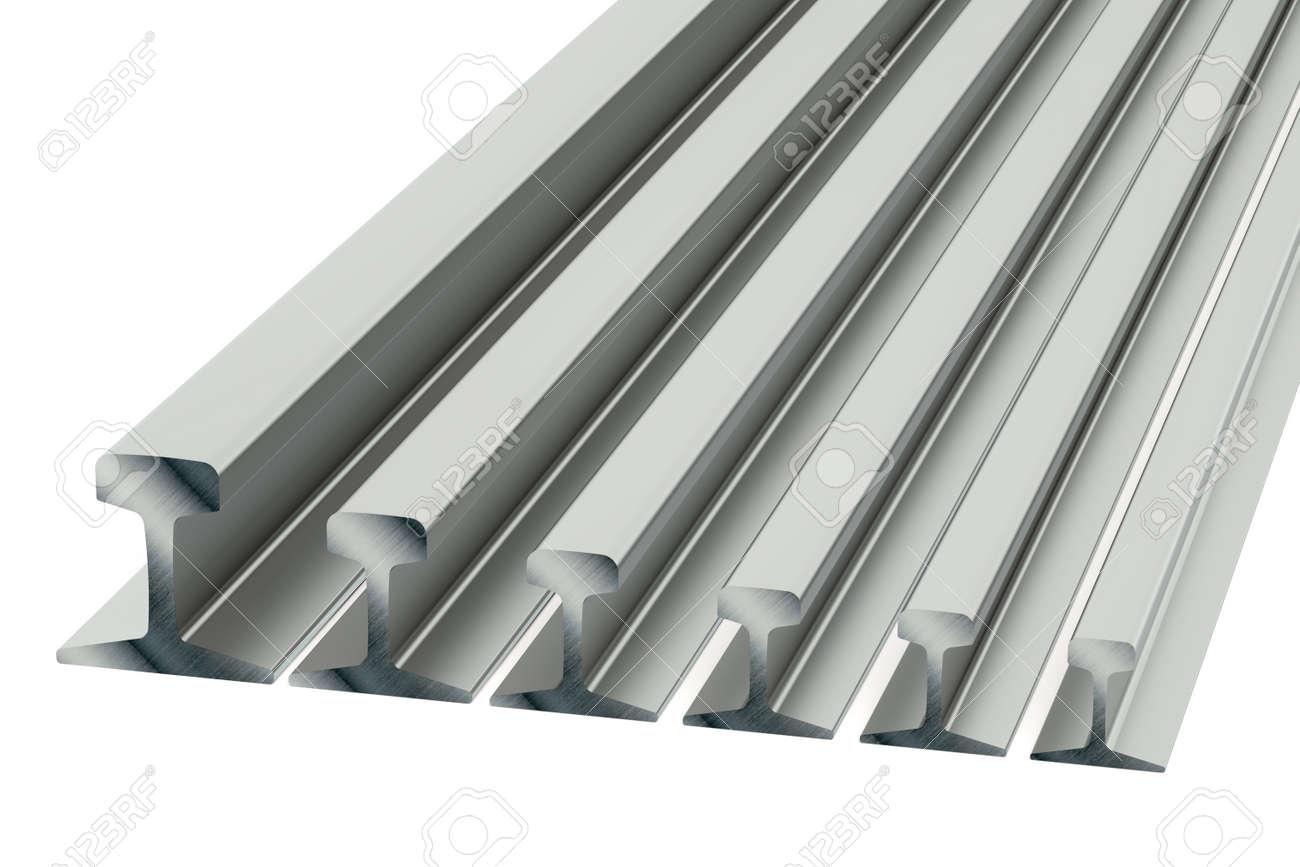 Background image rails - Stock Photo Steel Rails Isolated On White Background