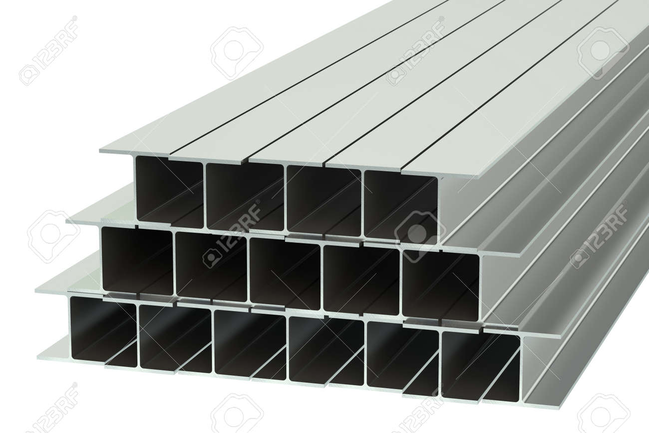 steel rolled metal H-beam isolated on white background